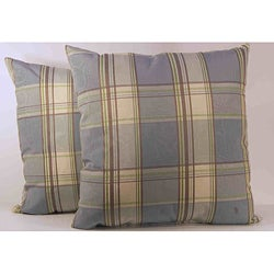 Glenboro Mineral/Chocolate Plaid Pillows (Set of 2)