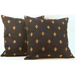 Rashida Black/Gold Medallion Throw Pillows (Set of 2)