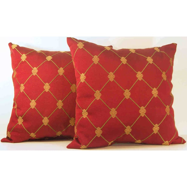 Rashida Ruby/Gold Medallions Throw Pillows (Set of 2)