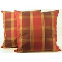 Duncaster Mink Check Throw Pillows (Set of 2)