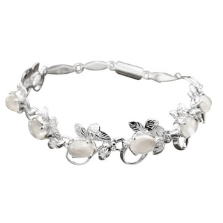 Handmade Sterling Silver 'Misty Affair' Moonstone Bracelet (India)