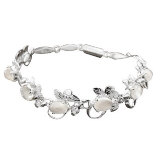 Handmade Sterling Silver 'Misty Affair' Moonstone Bracelet (India)
