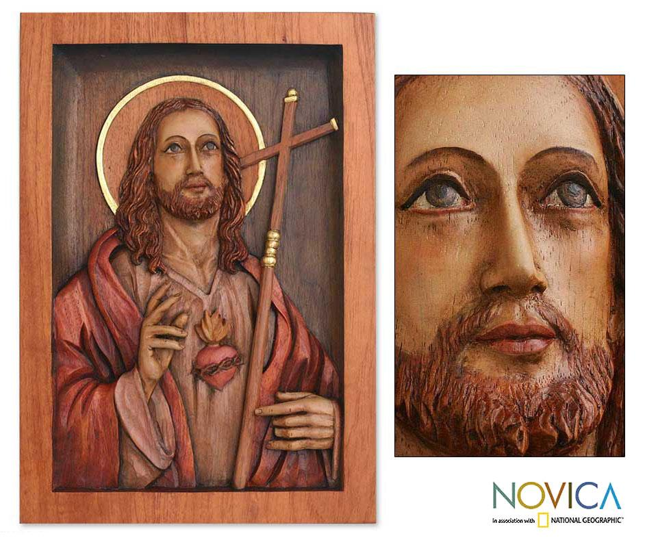 Handmade Cedar Wood Sacred Heart Of Jesus Relief Panel