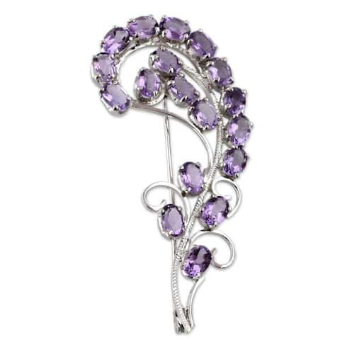Handmade Sterling Silver 'Purple Paisley' Amethyst Brooch (India)