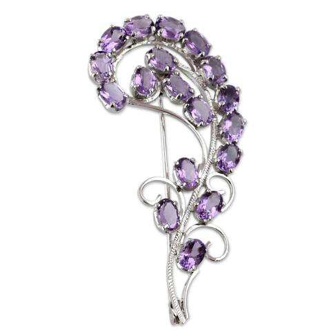 Handmade Sterling Silver 'Purple Paisley' Amethyst Brooch (India)
