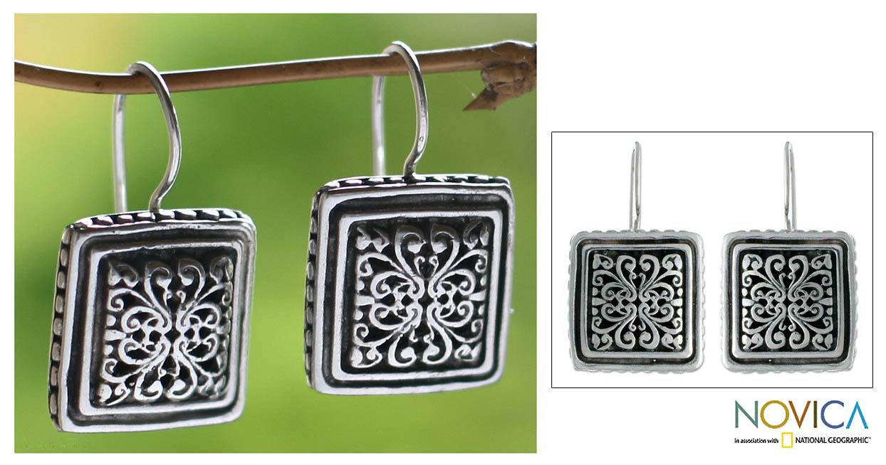 Handcrafted Sterling Silver 'Corsage' Flower Earrings (Indonesia)