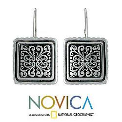 Handcrafted Sterling Silver 'Corsage' Flower Earrings (Indonesia) - Thumbnail 1