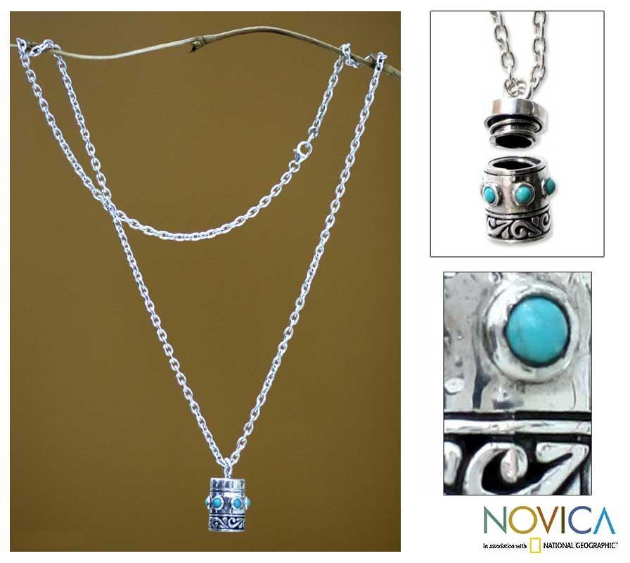Sterling Silver Men's 'Secret' Turquoise Locket Necklace (Indonesia)