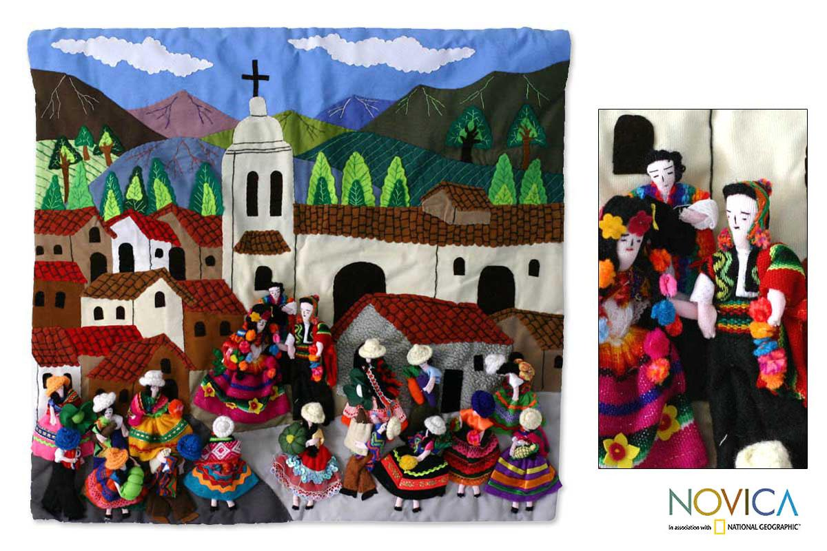 Cotton 'Traditional Wedding' Applique Wall Hanging (Peru)