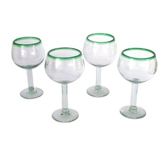 Set of 4 Blown Glass 'Lime Globe' Wine Glasses (Mexico)