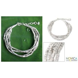 Silver 'Glimmering Fantasy' Torsade Bracelet (Thailand)
