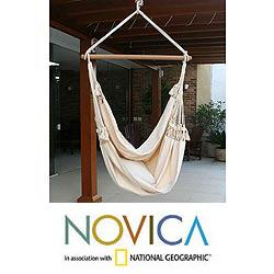 Handcrafted Cotton 'Life's a Balance' Hammock Swing (Brazil)