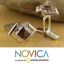 Handmade Sterling Silver 'Aura' Smoky Quartz Cufflinks (India) - Thumbnail 0
