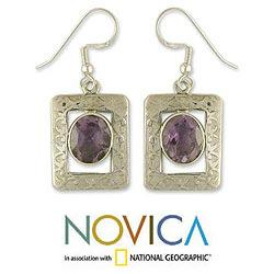 Handmade Sterling Silver 'Hypnotic Intuition' Amethyst Dangle Earrings (India)