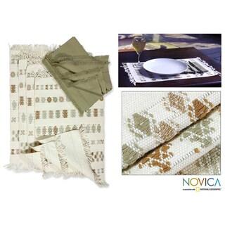 Handmade Set of 4 Cotton 'Iconic Maya' Placemats and Napkins (Guatemala)
