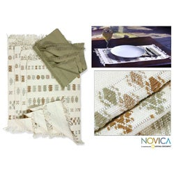 Handmade Set of 4 Cotton 'Iconic Maya' Placemats and Napkins (Guatemala)