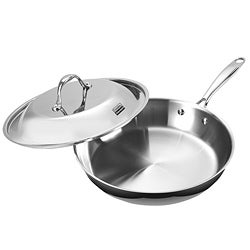 Cooks Standard 12 inch Fry Pan with Dome Lid Multi-Ply Clad Stainless Steel