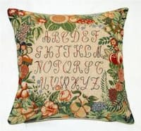 Corona Decor French Jacquard Woven Alphabet Design Feather and Down Filled Pillow