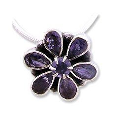 Sterling Silver 'Shy Violet' Iolite Necklace (India)