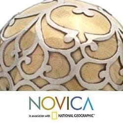 Handcrafted Brass and Silver 'Peace' Sphere Sculpture (Indonesia)