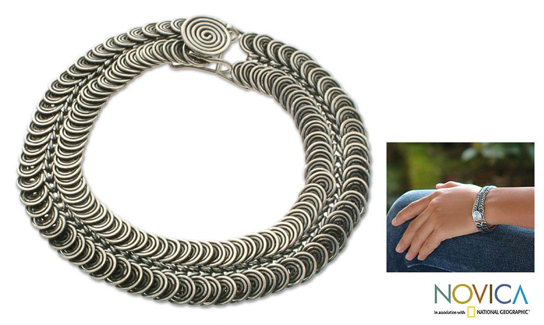 Snail Pass Antique Balinese Design Oxidized 925 Sterling Silver Fluid Flexible Collectible Womens Bracelet (Indonesia)