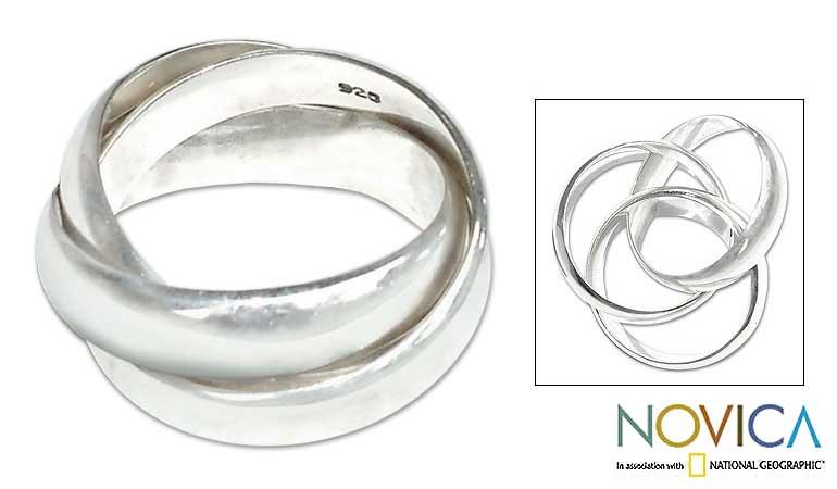 Family of Three Interlocking Cartier Style Trinty Ring in Polished 925 Sterling Silver Mens Ring (Indonesia)