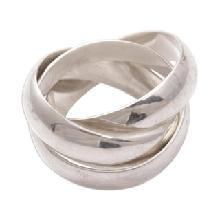 Handmade Family of Three Interlocking Cartier Style Trinty Ring in Polished 925 Sterling Silver Mens Ring (In