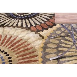 Hand-tufted Bom In Brown Wool Rug (5' x 8') - Thumbnail 2
