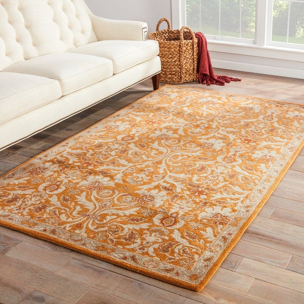 Ciresi Handmade Damask Orange Multicolor Area Rug 5 X 8