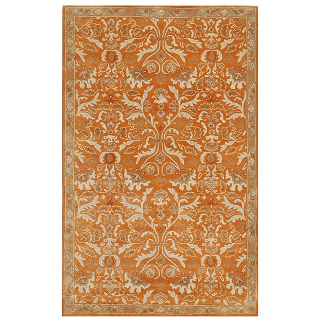 Hand-tufted Sorcica Orange Wool Rug (8' x 11') - Thumbnail 0