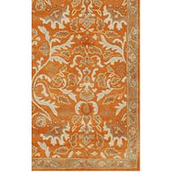 Hand-tufted Sorcica Orange Wool Rug (8' x 11') - Thumbnail 2
