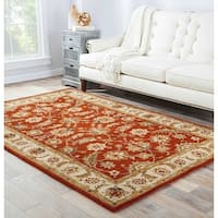 Skylar Handmade Floral Red/ Gold Area Rug (9' X 12') - 9' x 12'