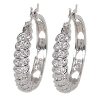 NEXTE Jewelry Silvertone Cubic Zirconia Swirl Hoop Earrings