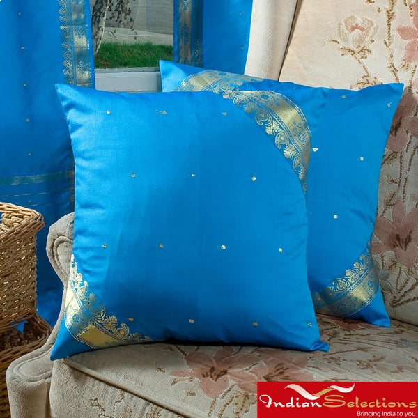 Set of Two Sari Fabric Decorative Blue Pillow Covers (India)