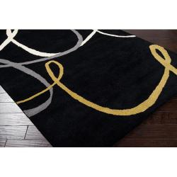 Hand-tufted Black Contemporary Swirl Herbert Wool Abstract Rug (8' x 10') - Thumbnail 1