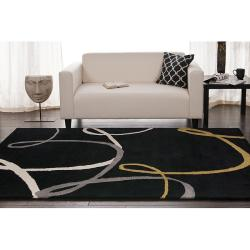 Hand-tufted Black Contemporary Swirl Herbert Wool Abstract Rug (8' x 10') - Thumbnail 2