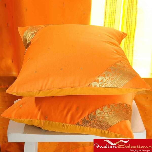 Set of Two Sari Fabric Decorative Pumpkin Pillow Covers (India)