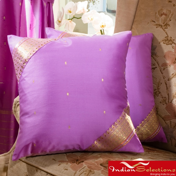 Set of Two Sari Fabric Decorative Lavender Pillow Covers (India)