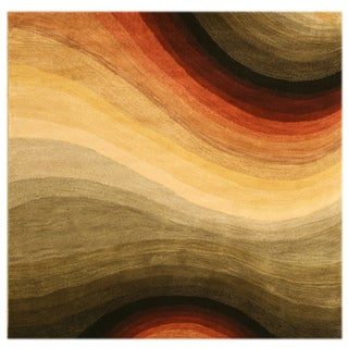Hand-tufted Wool Contemporary Abstract Desertland Rug - 6' Square