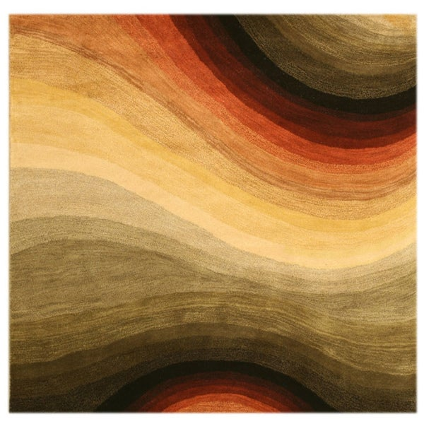 Hand-tufted Wool Contemporary Abstract Desertland Rug (6' Square)