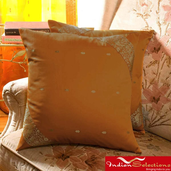 Set of Two Sari Fabric Decorative Mustard Pillow Covers (India)