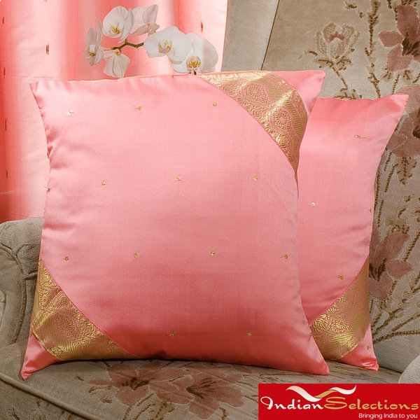 Set of Two Sari Fabric Decorative Peach Pink Pillow Covers (India)