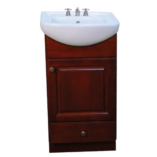 18 inch bathroom vanity. Fine Fixtures Petite Dark Cherry Wood and White Ceramic 18 inch Bathroom  Vanity