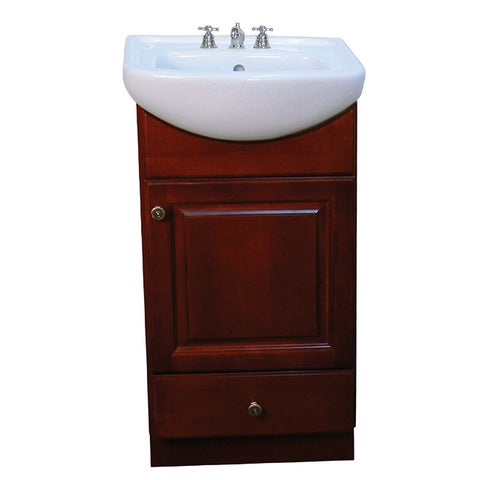 Fine Fixtures Petite 18-inch Dark Cherry/ White Bathroom Vanity