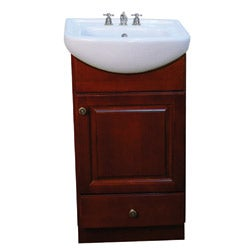 Fine Fixtures Petite Dark Cherry Wood and White Ceramic 18-inch Bathroom Vanity