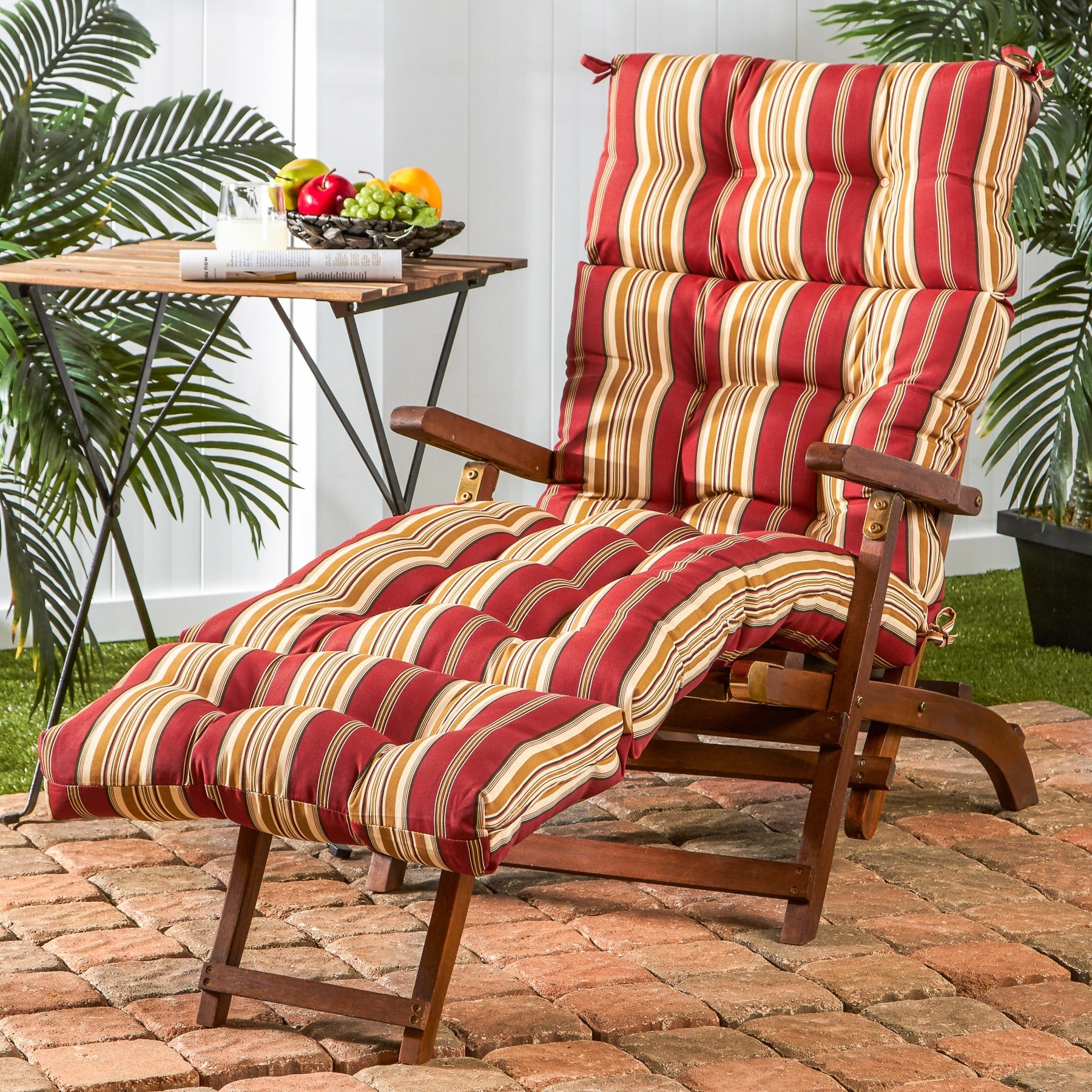 shop greendale home fashions outdoor roma stripe chaise lounger rh overstock com Lounge Outdoor Furniture Cushions Chaise Lounge Outdoor Cushions 21X72