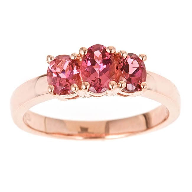 D�Yach Rose Gold over Sterling Silver 3-stone Pink Topaz Ring