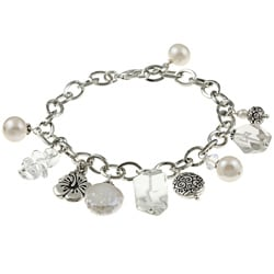 Charming Life Silvertone Clear Quartz and Pearl Flower Charm Bracelet