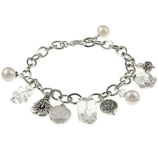 Lola's Jewelry Silvertone Clear Quartz and Pearl Flower Charm Bracelet