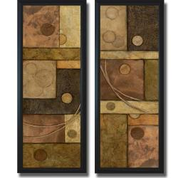 Norm Olson 'Circle Game I and II' Framed Canvas Art